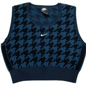 Nike Womens Blue Woven Knit Sleeveless Cropped Top